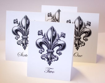 Fleur de lis Printable Table Number Tent Cards Gothic Elegant DIY You print Instant Download Set 30 4.25x5 finished size