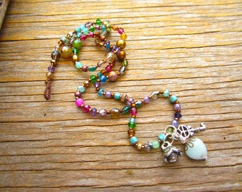 Trinket charm necklaces crystals and gemstones, pearls and sterling