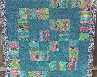 Beautiful Modern Pieced Quilt/ Amy Butler Lark Fabrics