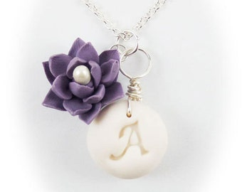 Personalized Lotus Initial Necklace - Lotus Jewelry