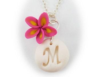 Personalized Plumeria Initial Necklace - Frangipani Letter Necklace, Plumeria Jewelry