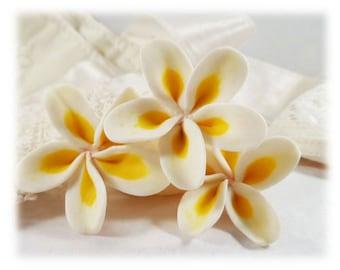 Plumeria Hair Pins - Frangipani Hair Flowers, Tropical Flower Hair Pins