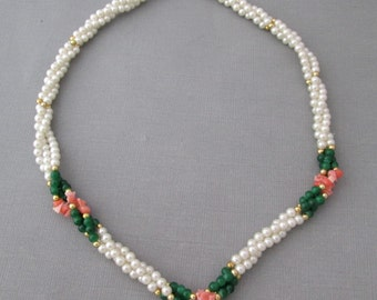 Vintage Pearl Necklace Coral Nugget Chrysophase Green Bead Gold Spacers Twisted PRETTY