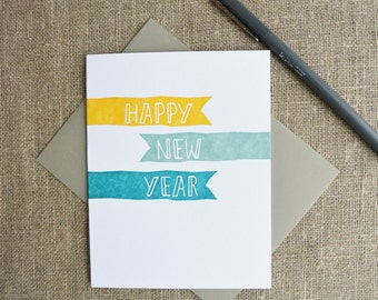 Letterpress Happy New Year Greeting Card