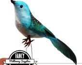 1 -  Small - Blue / Green - Craft Bird - Fake Bird - Artificial Bird -  Wren - Feathers - Millinery - Bridal