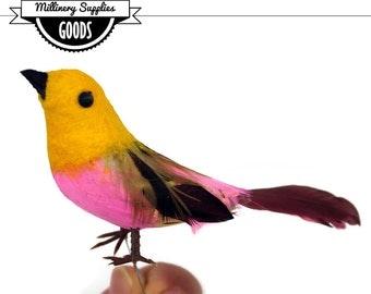 1 -  Small - Yellow Gold / Hot Pink - Craft Bird - Fake Bird - Artificial Bird -  Wren - Feathers - Millinery - Bridal