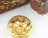 BRASS FLOWER - Large Raised Rose Flower Brass Stampings - Jewelry Ornament Findings (FB-6015) #