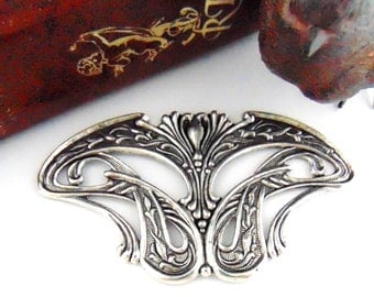 SILVER Art Nouveau Stamping - Jewelry Antique Silver Findings (C-808) #