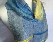 Yellow and Blue with Silver  Handwoven Scarf
