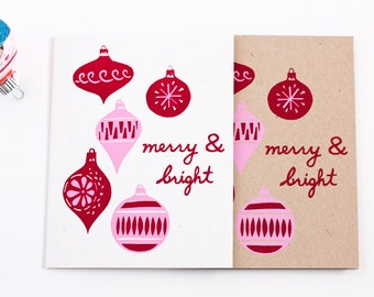Retro Holiday Cards / Merry & Bright Ornaments / Card Set of 6 / Screen Printed by Hand