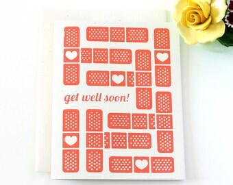 Get Well Soon Card / Bandaid Card / Hand Screen Printed