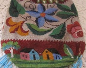 RESERVED For Angelika Antique Early Reticule Beaded Bag, Needs Repair