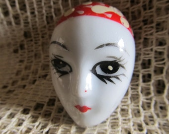 Vintage 1980's Mardi Gras Mask Hand Painted Brooch
