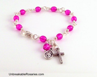 St Francis - St Anthony Rosary Bracelet in Lilac Purple Czech Glass by Unbreakable Rosaries
