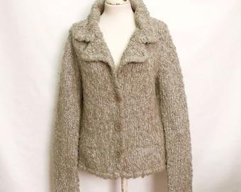 60% OFF 90s Grey metallic knitted jacket cardigan