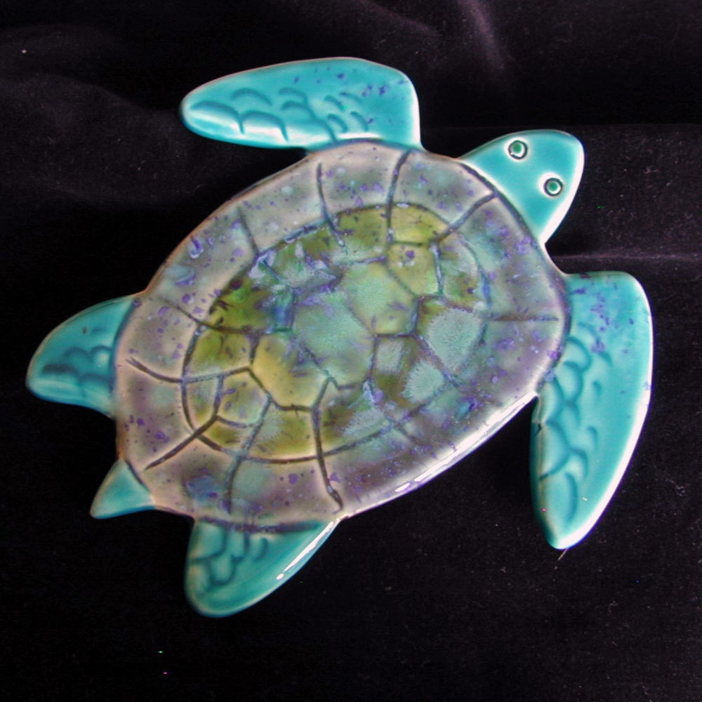 Ceramic sea turtle wall tile home decor for Turtle decorations for home