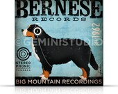 Bernese Mountain Dog Record Company graphic illustration on gallery wrapped canvas by Stephen Fowler