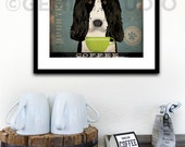 Springer Spaniel dog Coffee Company illustration giclee archival signed artist's print by stephen fowler geministudio Pick A Size