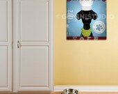 Black lab labrador Dog Cafe dog graphic art illustration on gallery wrapped canvas by stephen fowler
