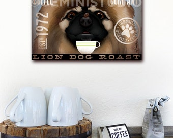 Pekingese dog Coffee Company graphic art on gallery wrapped canvas by stephen fowler