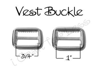 "100 Suspender / Vest Buckle with Teeth - Slide / Strap Adjuster - 3/4"" or 1"" Metal - SEE COUPON"