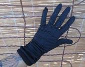 Vintage 50s Sheer Black Nylon Gloves Goth Coffin shirred gloves Halloween Costume 7