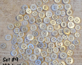Vintage White and Ivory Genuine Mother of Pearl Shell Buttons - 100 small to medium buttons - Beautiful lustre