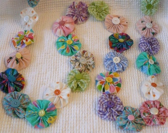 Beautiful Pastel Fabric Yo Yo Garland with Vintage Buttons - colorful and happy