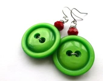 Big Bold Bright Christmas Green Vintage Button Earrings with Red Beads