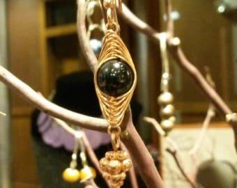 Copper Herringbone & Black Bead Earrings