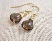 Smoky quartz earrings, gold earrings, gold or silver gemstone earrings, brown, gray, wire wrapped gemstones, simple everyday dangle earrings