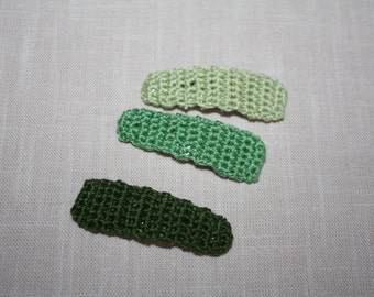 Girls Hair Clips, Crochet Hair Clips, Gift for Girls, Christmas Stocking Stuffer, Medium Hair Clip Trio, Grass Green, True Green, Pale Sage