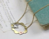 Initial necklace personalized brass bird scalloped copper pink heart vintage style retro hand stamped letter retro gift for her valentines