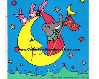Vintage Sandylion Moon Riders Limited Edition Number One RARE Large sticker elephant rabbits