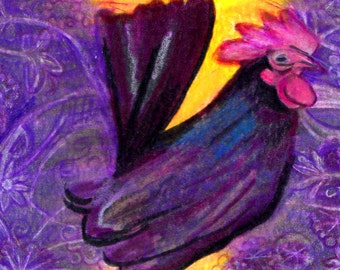 original art aceo drawing rooster banty chicken zentangle
