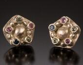 Sapphire Earrings, Silver Earrings, Rainbow Stud Earrings - Sapphire Collection