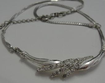 Silvertone Rhinestone Necklace