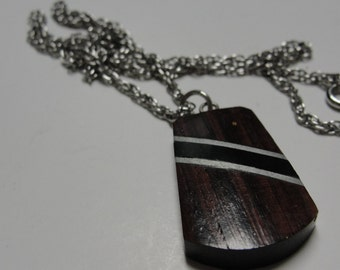 Dark Wood Black Silver Stripe Pendant Silvertone Necklace