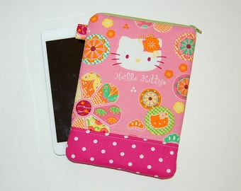 iPad Mini / Kindle / Nook / Nexus 7 Padded Cover - Handcrafted from Hello Kitty Flower Power Fabric