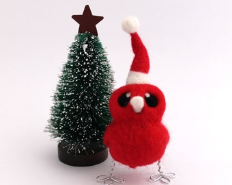 Needle Felted Red Bird Christmas Decoration Santa's Little Helper