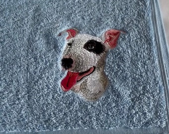 Terrier Dog Embroidered Hand Towel