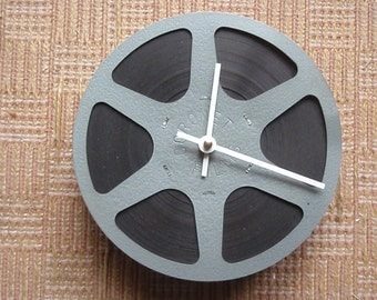"Movie Reel Clock - FREE SHIPPING - Film Buff - Showtime - Repurposed and Upcycled Home Decor - 7"" Diameter -"