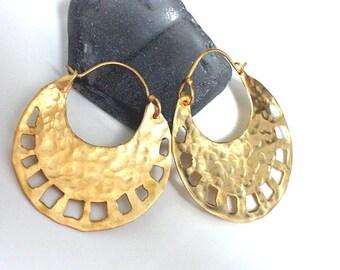 Tribal Gold Hoops, Gold Hoop Earrings, Goldplated Silver Earrings, Round Handmade Hoops, Crescent Hoops, Round Hammered Earrings