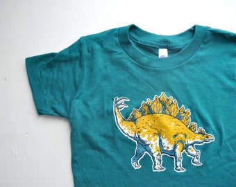 kids shirt tshirt children dinosaur shirt dino stegosaurus american apparel boy shirt girl shirt green shirt