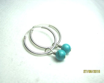 Sterling silver 21mm endless hoop earrings with 6mm turquoise dangle- free shipping