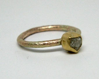 Rough Hewn Diamond Ring in Recycled Gold