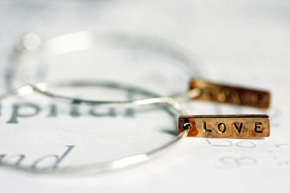 Sterling Silver Hoop Earrings with Love , Mixed Metal Silver Hoop Earrings, Love Tab Mixed Metal Hoops, Custom Silver Hoop Earrings