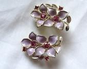Vintage Cluster Earrings Flower Rhinestones Enamel Clip backs Sarah Coventry Spring Wedding Bride Retro 1960s