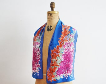 Vintage Vera Scarf - long floral blue scarf-summer scarf