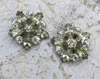 SALE...Two Sterling Silver Vintage Rhinestone Brooches, Pins... Vintage Rhinestone Scatter, Cluster Pin Set, Pair, 1930s
